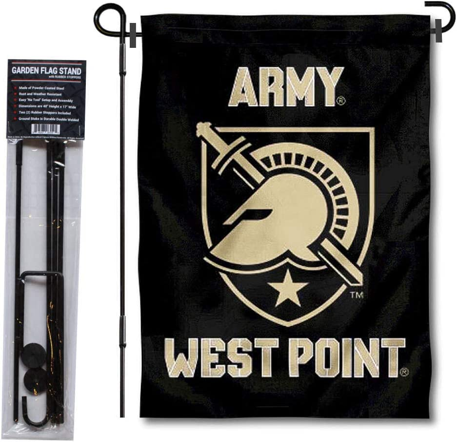 College Flags & Banners Co. Army Black Knights Athena Garden Flag with Stand Holder