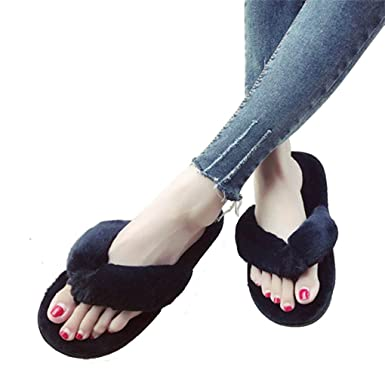 eb6554cbaeb Overdose Women Faux Fur Plush Home Spa Flip Flops Slippers  Amazon.co.uk   Clothing