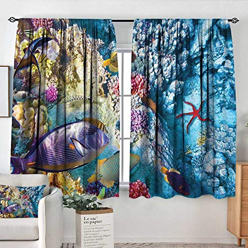 Elliot Dorothy Rod Pocket Drapes and Curtain Ocean,Exotic Coral Reefs Fish School Starfish Shallow Clean Lagoon Egyptian Red Sea Image,Multicolor,Customized Curtains 55
