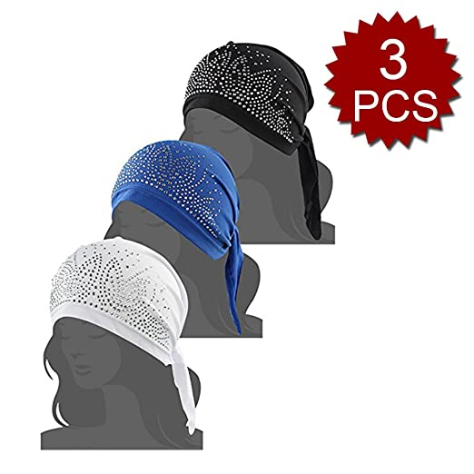 a5d958bc75e Opromo Women s Scarf Pre Tied Chemo Hat Headwear for Cancer Patients Summer-Assorted  1