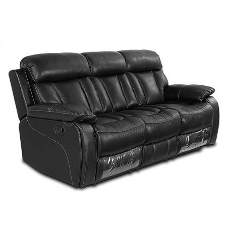 Moloo sofá 3 plazas Relax Manual Piel Negro Milan 156 x 103 ...