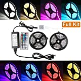 SJP Light 5050 RGB LED Flexible Strip Light DC 12V Kit 10M 600 LEDs 5050 SMD IP65 Waterproof Color Changing LED Rope Light Strips with 12V 6A Power Adapter & 44Key IR Remote Controller