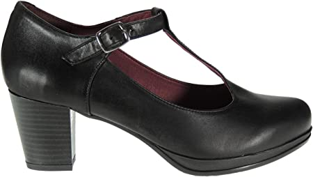 Abril 10527 Zapato Plataforma y Tacón Ancho de 6,5 CM con Hebilla para Mujer