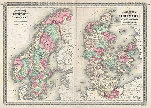 on Map of Sweden, Norway and Denmark, Version 2, 1870 | Historical Antique Vintage Decor Poster Wall Art | 18in x 24in ()