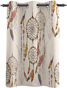 WARM TOUR Window Curtain Panel Ethnic Feather Dreamcatcher Printing Decor Durable Drapes for Bedroom Kitchen Living Room Vintage Tribal Old Dream Catcher