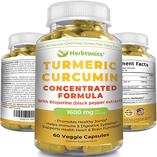 Concentrated Turmeric Curcumin 1610mg with Bioperine (black pepper) Capsules Supplement (300mg 95% Curcuminoids) Tumeric with black pepper Helps Pain relief, Joint Support Anti-Inflammatory Supplement