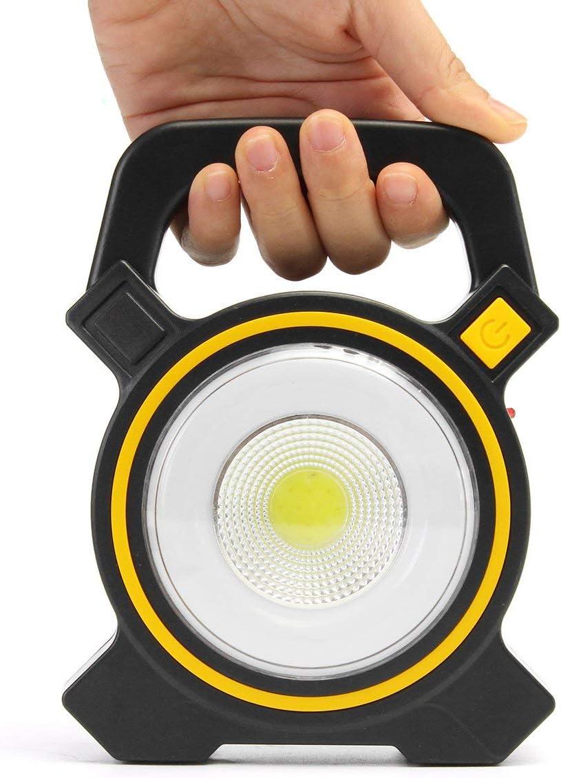 para exteriores senderismo 2 en 1 recargable emergencia linterna de camping y cargador de banco de energ/ía pesca port/átil HugeAuto Linterna LED recargable con energ/ía solar para camping