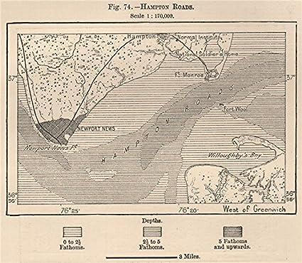 Amazon Com Hampton Roads Virginia 1885 Old Map Antique Map