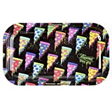 Beamer Designer Series Medium Metal Rolling Tray -Flying Pizzas - 10.75 inch x 6.25 inch
