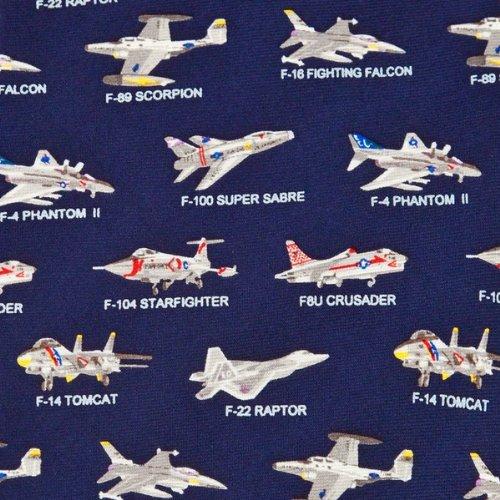 Mens Transportation Neck Tie American Fighter Jets Tie Blue Necktie