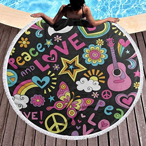 DERTYV Thick Round Beach Towel Peace Sign Love and Music Butterfly Premium Quality Sand Proof Beach Blanket with Tassels for Kids