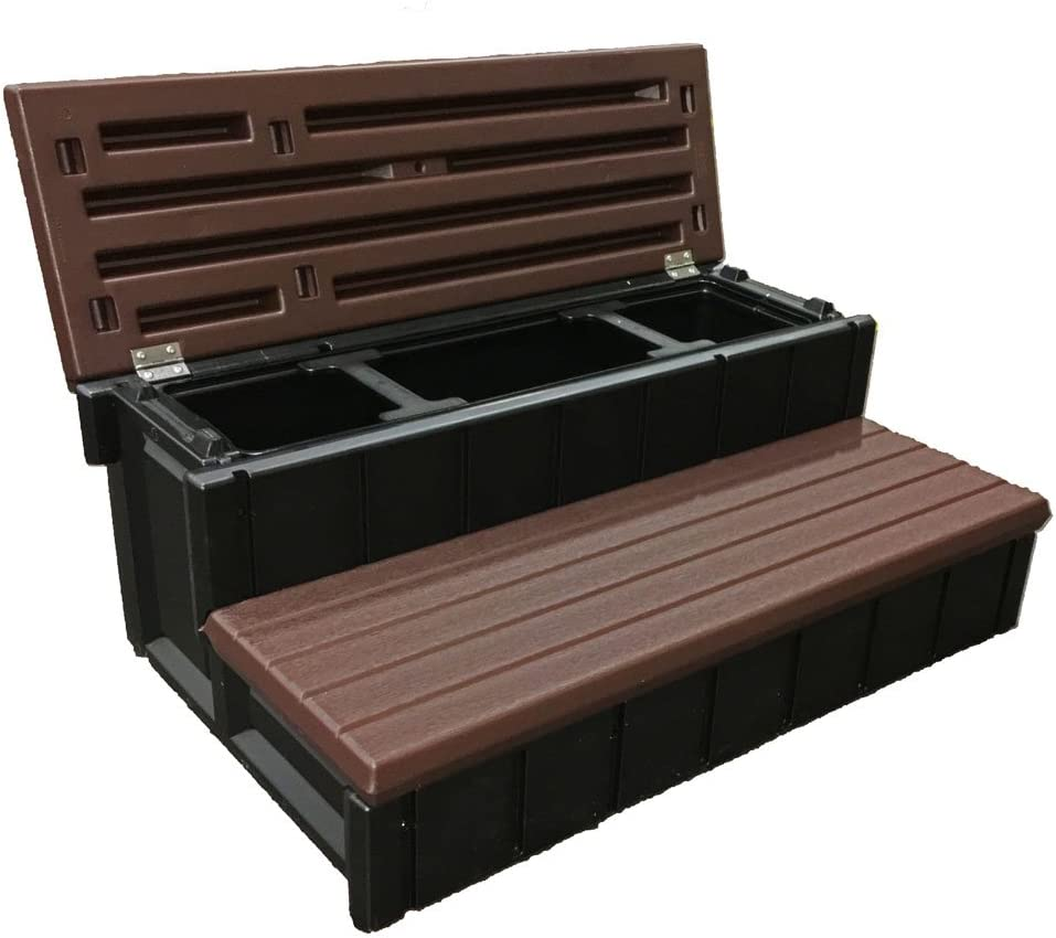Confer Plastics Outdoor Spa Storage Steps Espresso