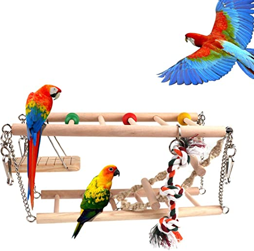 Makerfire Juguetes para pájaros Accesorios de Jaula Escalera de Madera Swing Pájaro Mascota Juguete para Macaw de Loro Grises africanos Parakeet Cockatiel: Amazon.es: Productos para mascotas