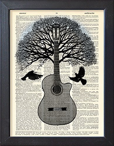 Guitar art poster, music tree black bird artwork, Dictionary book page print.