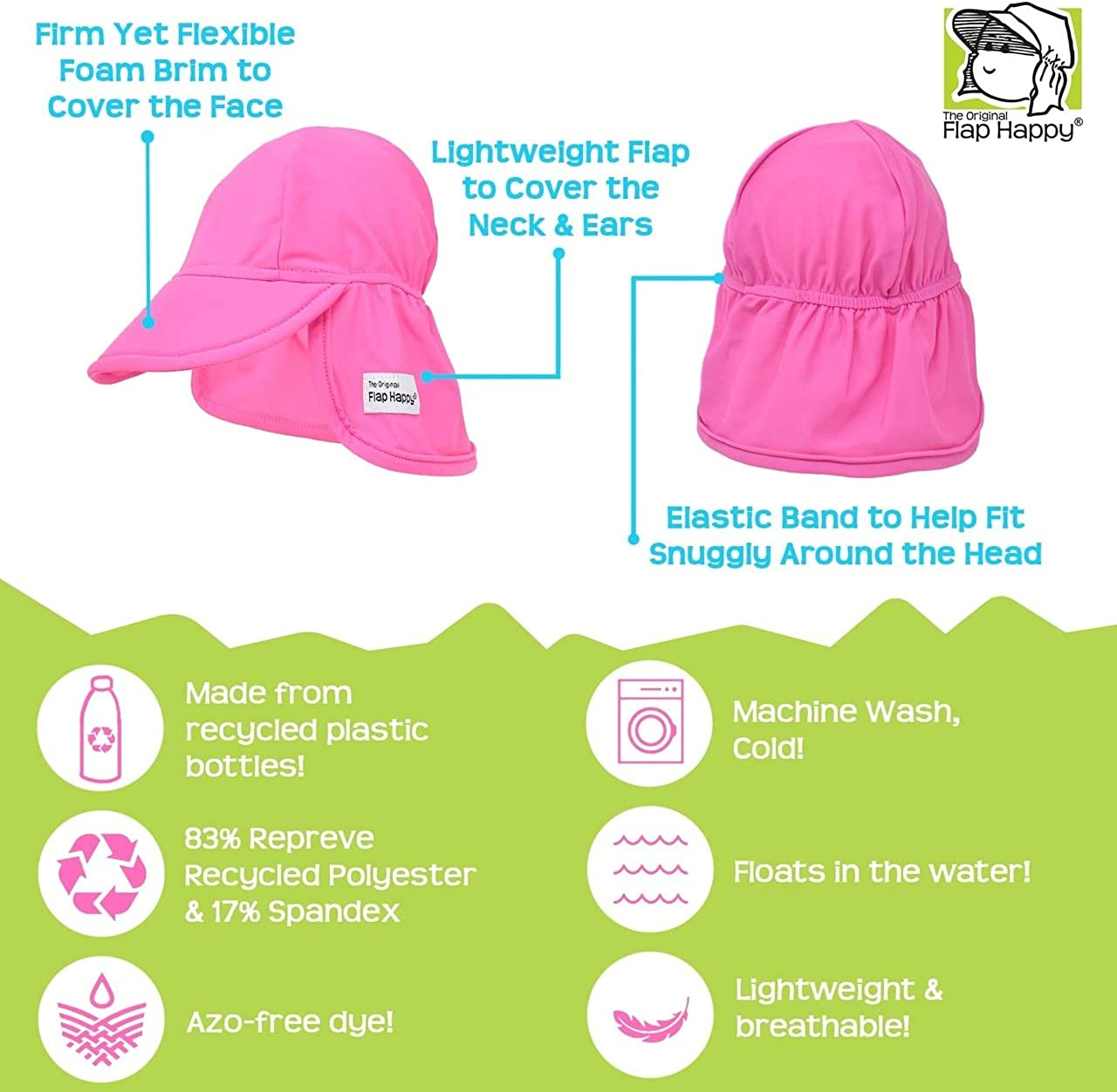 Flap Happy Baby and Childrens Swim Flap Hat UPF 50+ Floats on Water Azo-free dye Highest Certified UV Sun Protection
