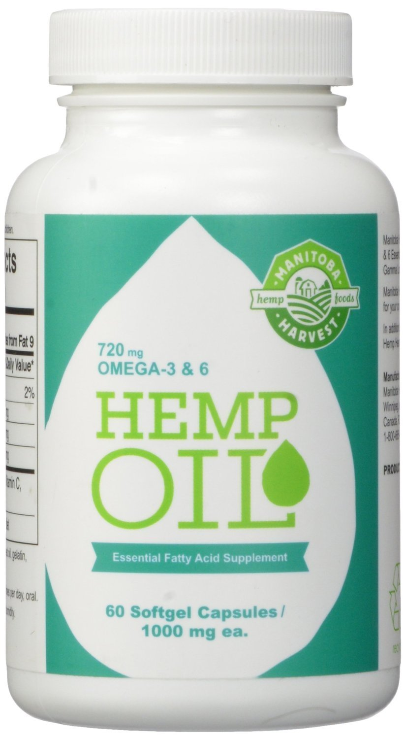 Manitoba Harvest Hemp Seed Oil Softgels, 2,475mg of Plant Based Omegas 3,6 & 9 per serving including GLA, Fish Oil Alternative, 60ct (pack of 12)