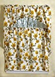 Violet Linen European 3 Piece Kitchen Curtain Set, Sunflowers
