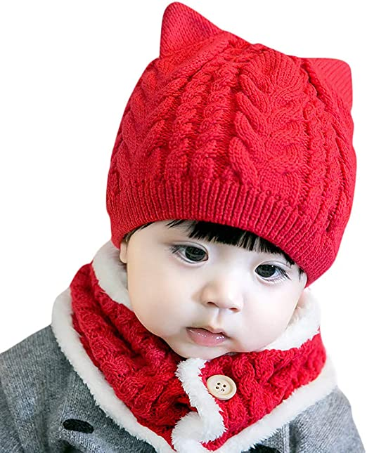 Kids Toddler Warm Knit Solid Winter 3 Pcs Set Crochet Beanie Hat Scarf Gloves