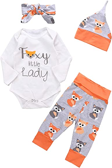 Headband 4pcs Hat Pants Borlai Baby Cotton Romper Letter Printed Jumpsuit