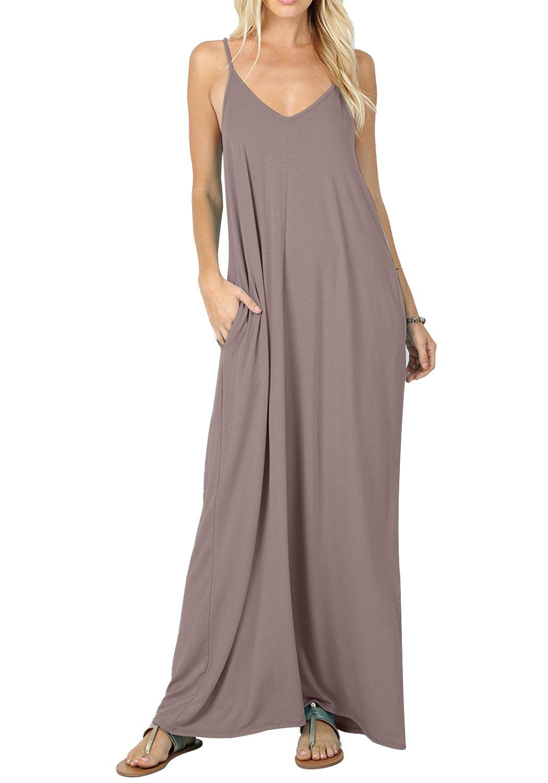 CALIPESSA Womens Deep V Neck Casual Beach Flowy Long Dress with Pockets Khaki M