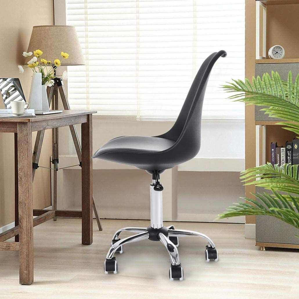 AJooED Adjustable Task Chair PU Leather Low Back Armless Swivel White Desk Chair Office Chair Wheels