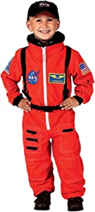 Aeromax Jr. Astronaut Suit with Embroidered Cap and NASA patches, ORANGE, Size 2/3