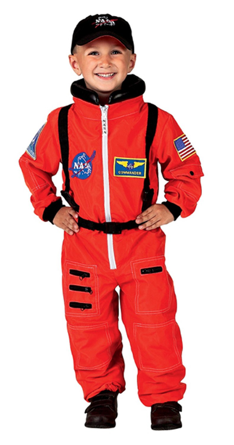 Aeromax Jr. Astronaut Suit with Embroidered Cap and NASA patches, ORANGE, Size 8/10