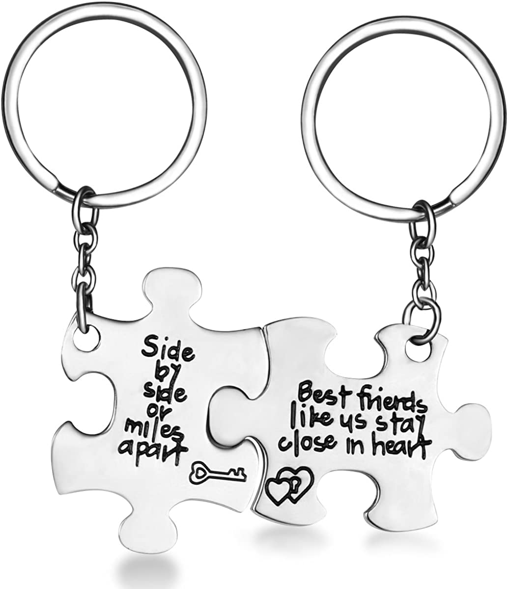 CJ&M Stainless Steel Side Side Miles Apart Best Friends Necklaces Set/Keychain Set,Friendship Gifts Jewelry