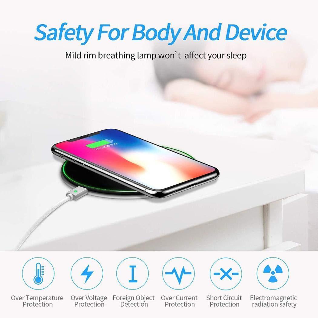 pairris Carica Rapida del Telefono da Tavolo in Metallo con Caricabatterie Wireless Smart Qi da 10 W Caricabatterie a induzione