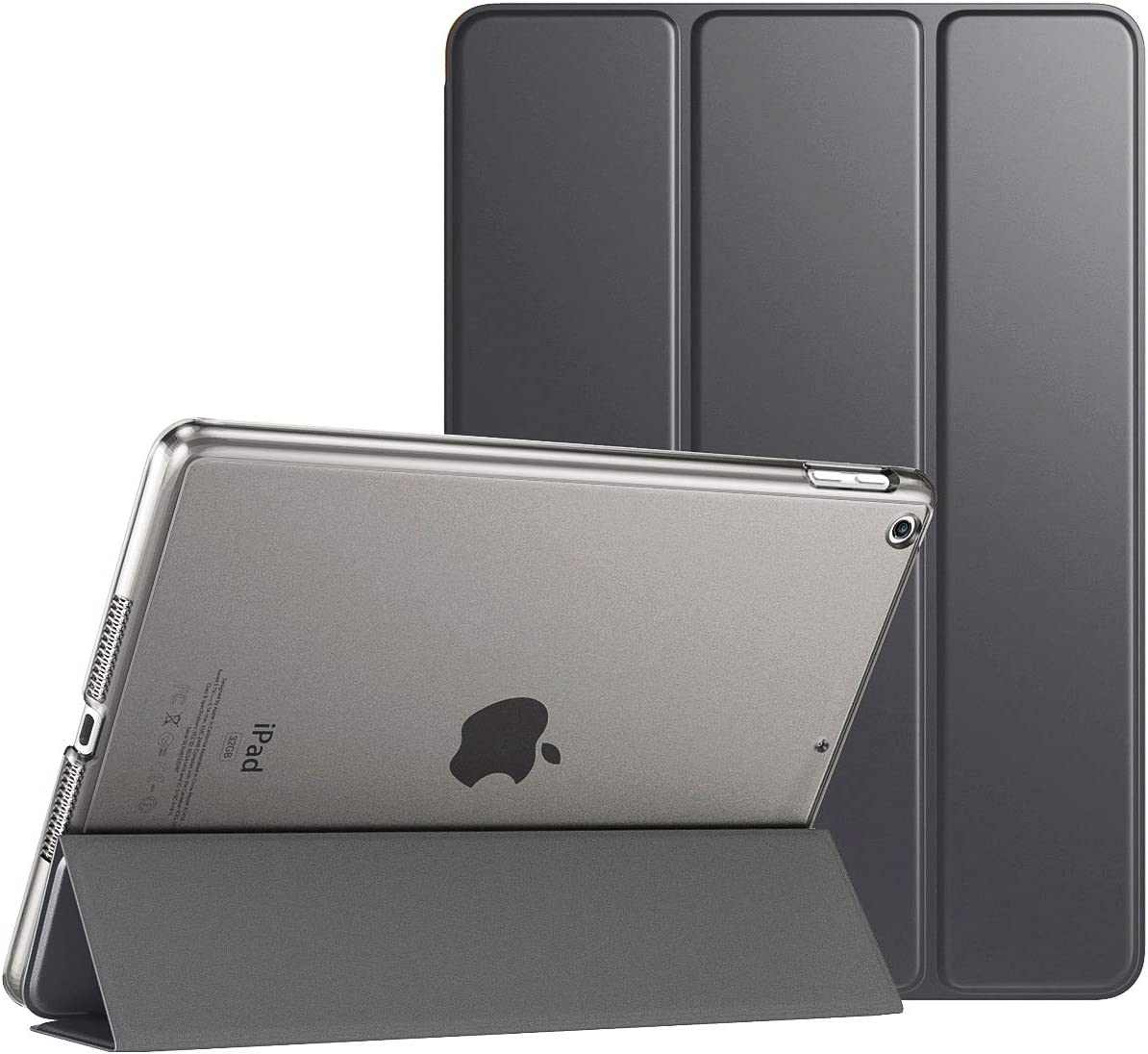 """TiMOVO Case for New iPad 8th Generation 2020 / iPad 7th Generation 10.2"""" 2019, Slim Translucent Frosted Back Protective Smart Cover Case with Auto Wake/Sleep for iPad 10.2-inch - Space Gray"""