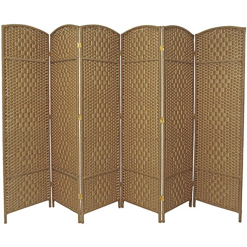 Oriental Furniture 6 ft. Tall Diamond Weave Fiber Room Divider - Natural - 6 Panel