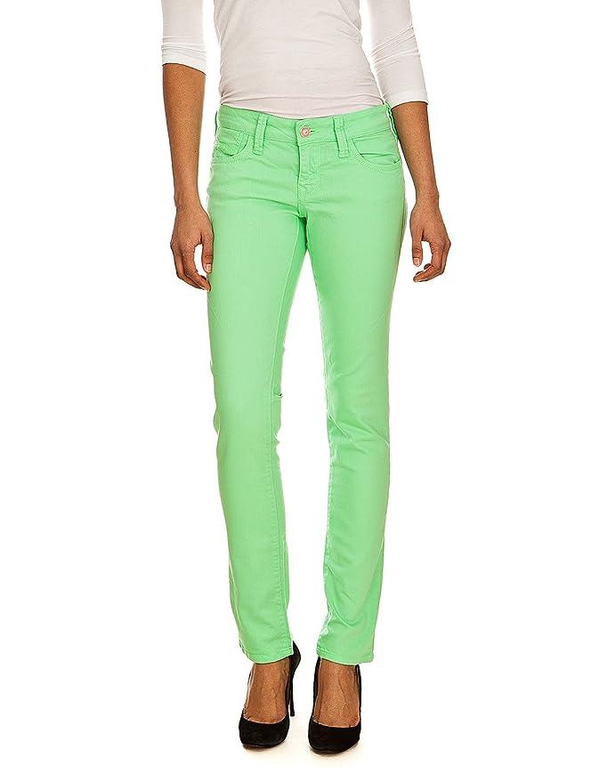 Pantalón vaquero verde neón para mujer