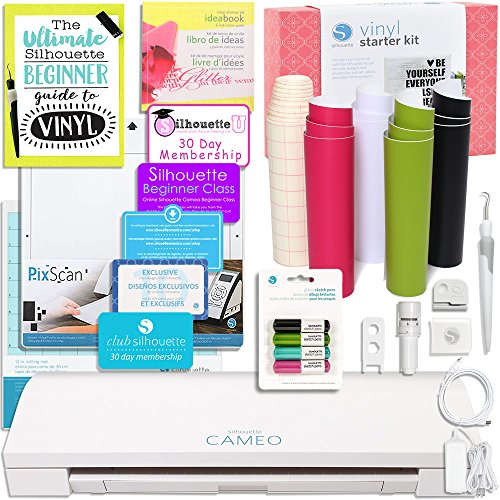 UPC 665788890511, Silhouette CAMEO 3 Bluetooth Starter Bundle with Vinyl Kit, Online Class, Starter Guide, Cutting Blade, Pens, Tools and More