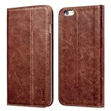 iPhone SE Case, Benuo [Vintage Book Series 2] iPhone 5S Genuine Leather Case, Protective Folio Case Flip Cover [1 Card Slot] with Stand for Apple iPhone SE 5S 5Decorative Stitching (Stylish Brown)