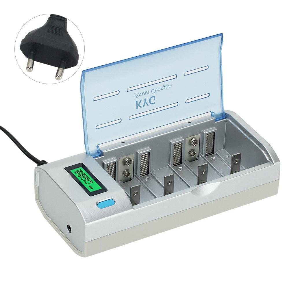 Caricabatterie per Pile Ricaricabili Stilo AA/AAA/D/C/9V Display LCD Retroilluminato Caricatore Batterie Ni-Cd Ni-MH 6 Slot Universale batterie Hallo&World C906W