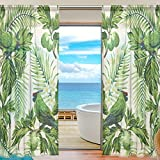SEULIFE Window Sheer Curtain, Tropical Bird Parrot Flower Leaves Voile Curtain Drapes for Door Kitchen Living Room Bedroom 55x84 inches 2 Panels