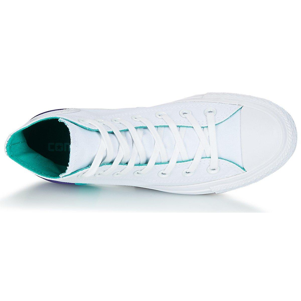 Converse Unisex-Erwachsene Chuck Taylor CTAS Hi Canvas Fitnessschuhe, beige Weiß (White/Enamel Aqua/Court Purple 115)