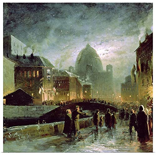 GREATBIGCANVAS Poster Print Entitled Illuminations in St. Petersburg, 1869 by Fedor (1850-1873) Vasiliev 48
