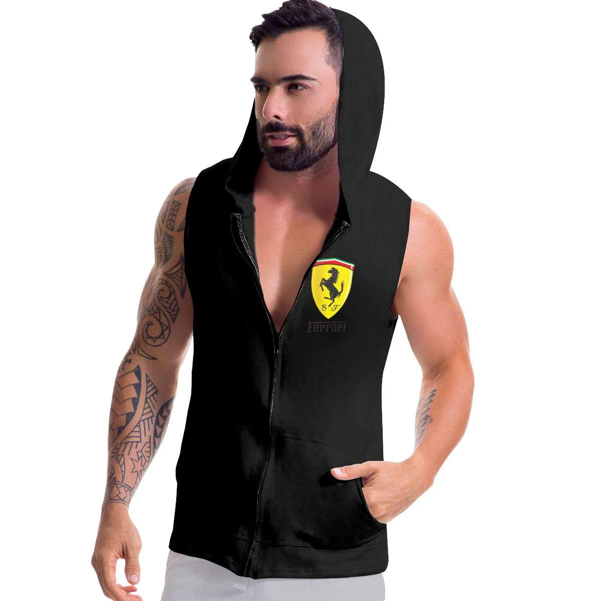 SHENGN Mens Customized Humor with Hood Sack Ferrari Logo Zipper Suits