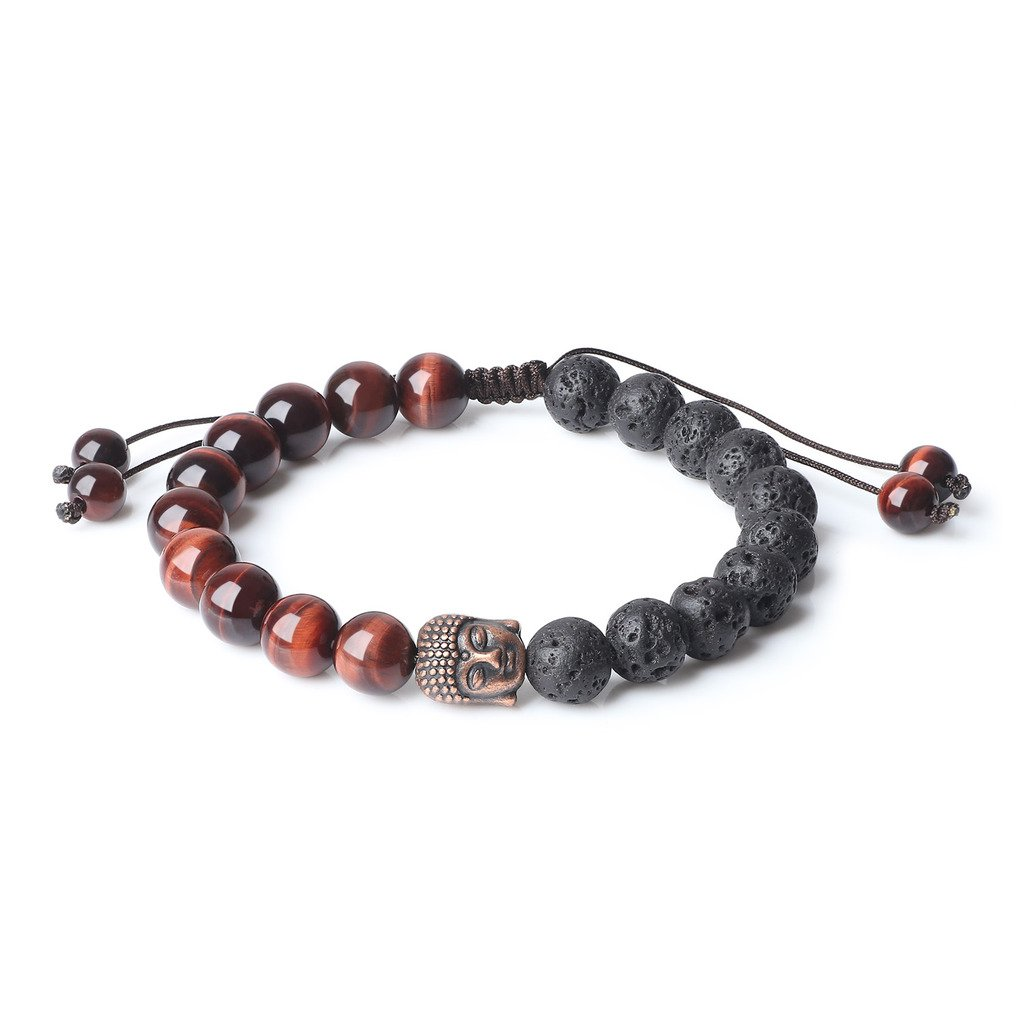 AmorWing Adjustable Mens Womens Mala Prayer Beads Lava Stones Buddha Bracelet N372-5