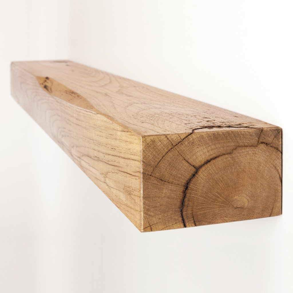 Funky Chunky Furniture 6x4 Solid Reclaimed Oak Floating Shelf, Natural Oak, 30cm