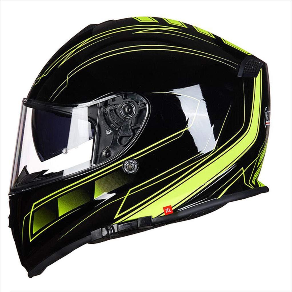 アウトドアアダルトフルカバーヘルメットアンチフォグダブルレンズオートバイヘルメット安全ライトユニセックス通気性ヘルメット (サイズ さいず : XXL(60-62cm)) B07KT3XM2V XL(58-60CM)  XL(58-60CM)