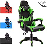 Advwin Gaming Chair Racing Style, Ergonomic Design Reclining Executive Computer Office Chair, Relieve Fatigue Green(60 * 60 * 115-125cm)