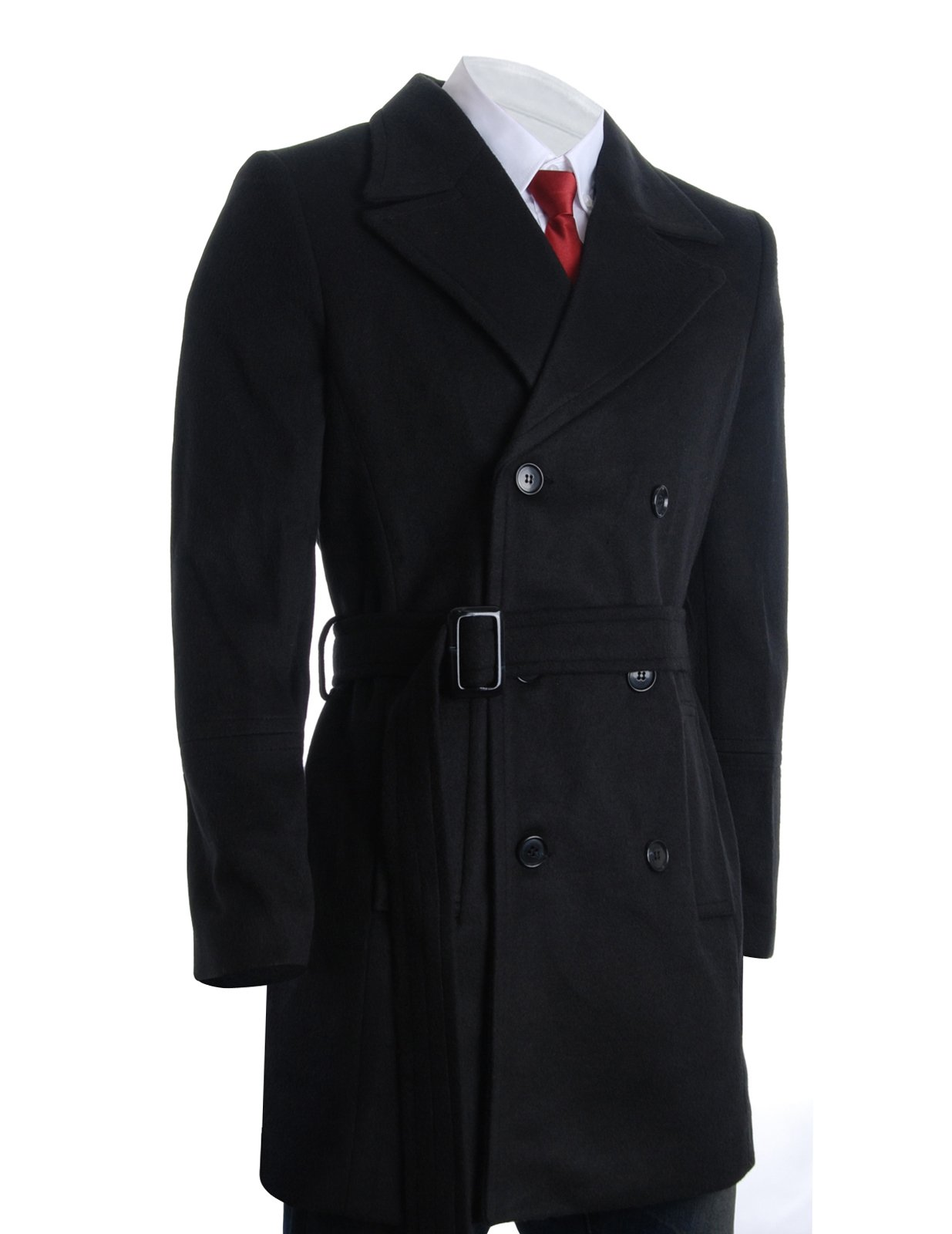 FLATSEVEN Mens Winter Double Breasted Pea Coat Long Jacket (CT122) Black, US XX-Large/Asia XXXXL