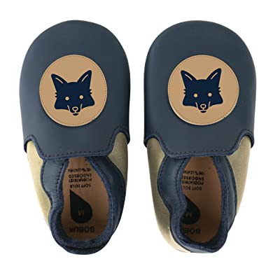 Bobux Soft Soles Giants - Navy Avec Renard Beige - 3XL