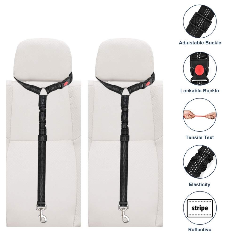 Lukovee Dog Car Seatbelt Headrest Restraint Seat Belt Straps, 2 Pack Dog Tether for Vehicle Adjustable Pet Safety Leads Elastic Bungee Backseat Leash for Dog Harness Collar Travel Daily Use (Black)