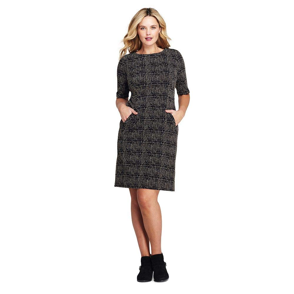 d3413368 Lands' End Women's Plus Size Ponte Knit Sheath Tweed Dress with Elbow  Sleeves at Amazon Women's Clothing store: