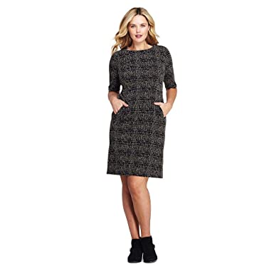 Lands\' End Women\'s Plus Size Ponte Knit Sheath Tweed Dress with Elbow  Sleeves