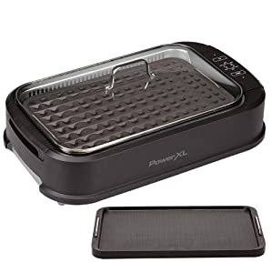 "PowerXL Smokeless Grill Family Size- with Tempered Glass Lid with Interchangeable Grill and Griddle Plate and Turbo Speed Smoke Extractor Technology 22.1"" X13.2"" X 6.1"