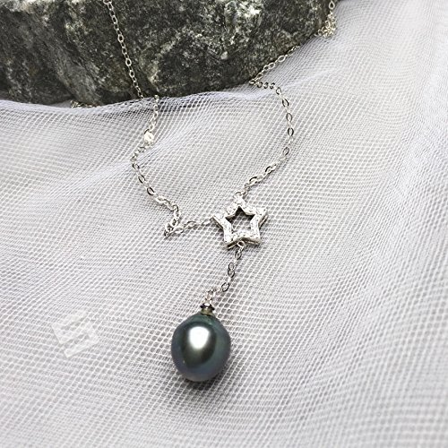 13 Mm Tahitian Pearl (Cultured Tahitian Pearl In Silver Lariate Necklace, 13-14MM Black Pearl With Sterling Silver Necklace, Tahitian Pearl Adjustable Necklace)